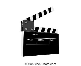 3d film clapper on white background