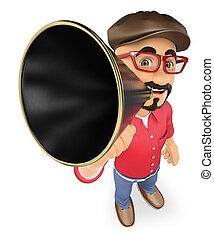 3D Film director talking on a megaphone