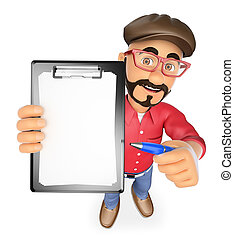 3D Film director with blank clipboard and a pen