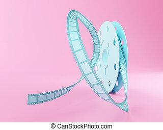 3d Film reel cartoon style.