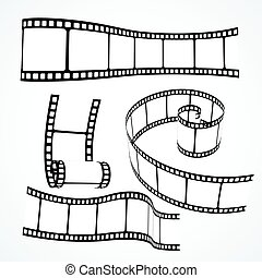 3d film reel strip vector set