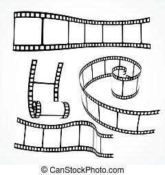 3d film reel strip vector set