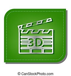 3D film sign. Silver gradient line icon with dark green shadow at ecological patched green leaf. Illustration.