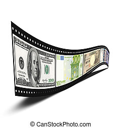 3D film strip with dollars, euro, yen, pound banknote pictures isolated over white background