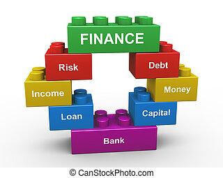 3d finance building blocks - 3d render of concept of finance...