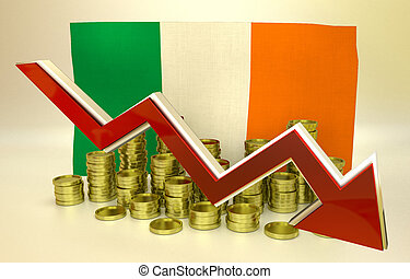 currency collapse - Irish economy - 3D finance graph - ...