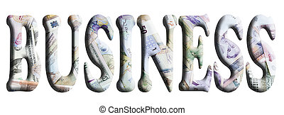 3D finance words with currency background