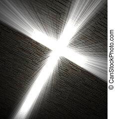 Christian cross of light - 3d fine image, Christian cross of...