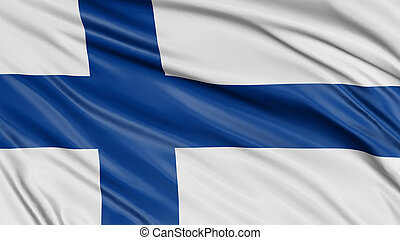 3D Finnish flag with fabric surface texture