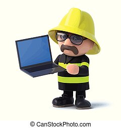3d Firefighter holds a laptop pc