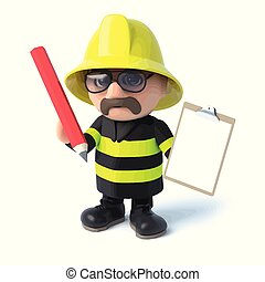 3d Firefighter with clipboard and pencil
