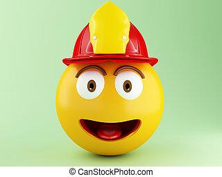 3d Fireman emoji with helment