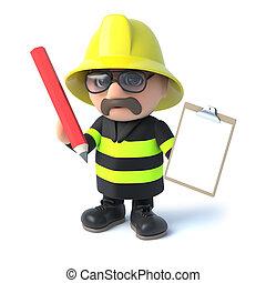 3d Fireman has a clipboard - 3d render of a fireman holding...
