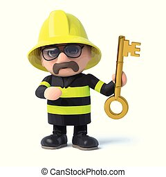 3d Fireman holds up a gold key