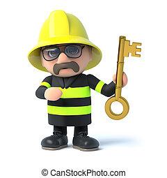 3d Fireman holds up a gold key - 3d render of a firefighter...