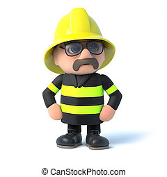 3d Fireman strikes a pose