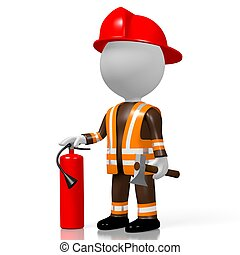 3D fireman with extinguisher, white background
