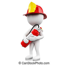 3d Fireman with helment and extinguisher.