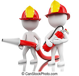 3d Fireman with helment, hose and extinguisher. - 3d...