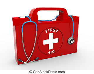 3d first aid kit and stethoscope