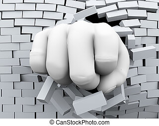 3d fist burst through brick wall - 3d rendering of human...