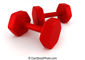 3d fitness weights on white background
