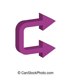 3d, flèches, direction, style, icône, droit