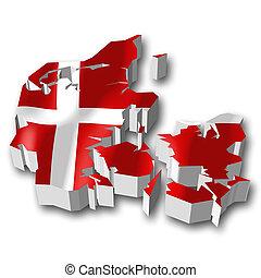 3D flag - Denmark