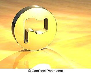 3D Flag Gold Sign