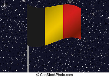 3D Flag Illustration waving in the night sky of the country ...