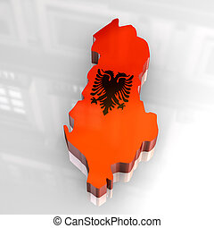 3d flag map of albania