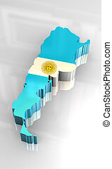 3d flag map of Argentina