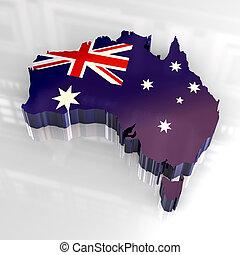 3d flag map of australia - 3d made - flag map of australia