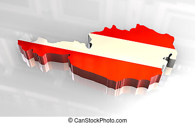3d flag map of austria