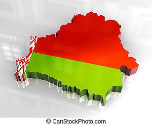 3d flag map of belarus