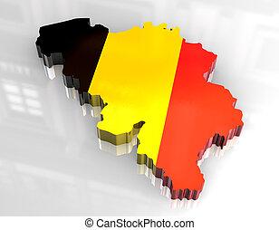 3d flag map of belgium - 3d made - flag map of belgium