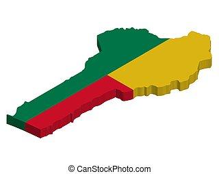 3D Flag map of Benin Vector illustration eps 10