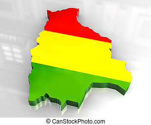 3d flag map of bolivia