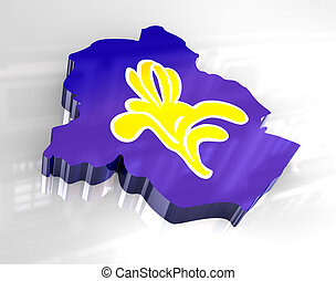 3d flag map of brussels