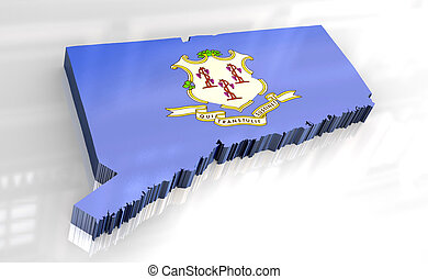 3d - Flag map of Connecticut