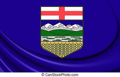 3D Flag of Alberta, Canada.