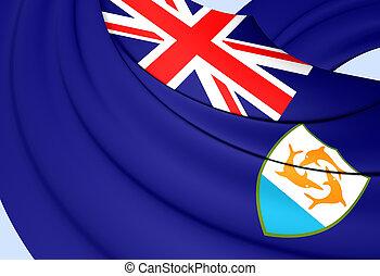 3D Flag of Anguilla. 3D Illustration.