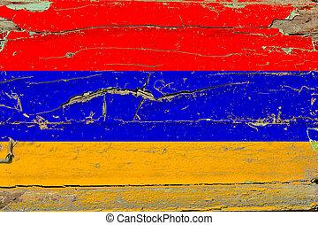 3D Flag of Armenia on wood