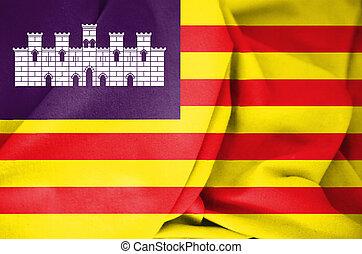 3D Flag of Balearic Islands, Spain.