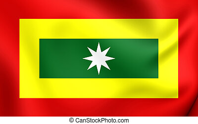 3D Flag of Barranquilla City, Colombia. Close Up.