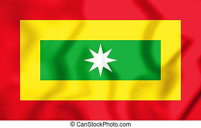 3D Flag of Barranquilla, Colombia. 3D Illustration.