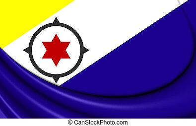 3D Flag of Bonaire, Netherlands. Close Up.
