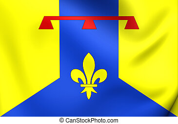3D Flag of Bouches-du-Rhone Department, France. Close Up.