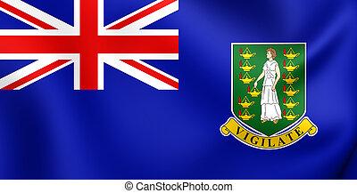 3D Flag of British Virgin Islands. Close Up.