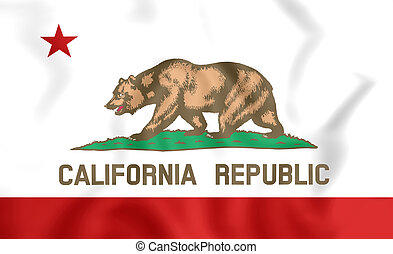 3D Flag of California, USA.